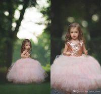 Wholesale Little Girl Lace Rose Dress - communion dress Rose Gold Sequins Blush Tulle Ball Gown Flower Girls' Dresses 2017 Cap Sleeve Puffy Little Girls Formal Wedding Party Dress