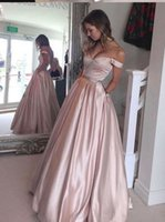 Wholesale Blushing Pink - Blushing Pink Satin A-line Off the Shoulder Prom Dresses Pockets Beaded Waist Floor Length Teens Formal Party Dress Custom Made 2017 New