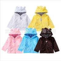 herbst winter baby fleece großhandel-5 farben baby korallen fleece bär hoodies mantel herbst winter kinder infant kleinkind sweatshirt bluse jumper clothing kinderkleidung