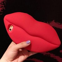 Wholesale Korean Cute Sexy - For iPhone 7 6 6S Plus 6plus 7plus Case 3D Sexy Red Lip Cute Korean Phone Case Cellphone Silicon Gel Soft Protective Cover