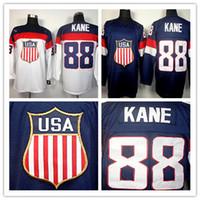 patrick kane usa olympic jersey al por mayor-MÁS NUEVOS !! Hombres al por mayor de 2014 Olimpiadas de Invierno de Sochi Hockey Jerseys Equipo de EE. UU. # 88 Patrick Kane Jersey Jersey cosido azul