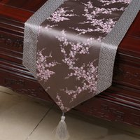 Wholesale fabric table mats - Short Length Patchwork Cherry blossoms Table Runner Luxury Silk Satin Fabric Tea Table Cloth Dining Table Mats Protective Pads 150 x 33 cm