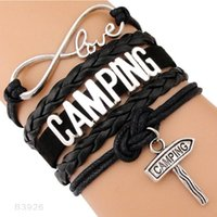 Wholesale Infinity Bracelet Metal - (10 Pieces Lot) Infinity Love Camping Metal Charm Leather Wrap Bracelets For Women Men Gifts Jewelry Drop Shipping
