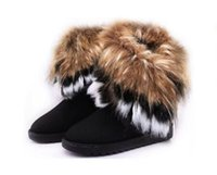 Wholesale Short Winter Boots Casual - Fashion Fox Fur Warm Autumn Winter Wedges Snow Women Boots Shoes GenuineI Mitation Lady Short Boots Casual Long Snow Shoes size 36-40