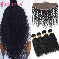 Wholesale Deep Weave Lace Closure - Brazilian Virgin Weave With Closure Virgin Hair 4 Bundles With Closure Ear To Ear Lace Frontal With Bundles Deep Curly Human Hair Weave