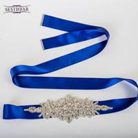 Wholesale Bride Children Dresses - Fashion Luxurious Handmade Rhinestone Silk Ribbon Pearl Crystal Wedding Party Bride Bridesmaid Belt Dress Sash S01