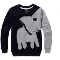 Wholesale Boys Christmas Summer Shirts - long sleeve boys swearshirt high quality elephant print gray black colors kids clothing tops children hot selling t-shirts fast shipping