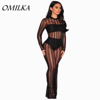 Wholesale Transparent Legs Sexy - Wholesale- OMILKA Black Sheer Mesh Jumpsuits 2017 Sexy Women Long Sleeve Wide Leg Bodycon Transparent Night Club Party Jumpsuits Overalls