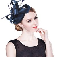Wholesale Dress Hat Red Feathers - Fashion Feather Satin Fascinator Hat Hair Clip Women Cocktail Wedding Party Bridal Hat Fascinator Ladies Dress Hair Headband