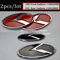 2pcs pour KIA voiture Trunk Emblem Logo 3D autocollant Boot Logo Hood Label Bonnet Cover OPTIMA K2 / K3 / K4 / K5 sorento auto emblem caps stickers