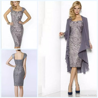 Wholesale Grey Sheath Knee Length Dress - 2018 Grey Elegant Sweetheart Mothers Dresses Tea Length Sheath Lace Mother Of The Bride Groom Dresses with Jacket Moms Gowns