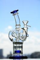 ingrosso artisti blu-Il migliore vetro Bongs del bicromato di potassio del bicromato di potassio di Bongs del vetro di vetro di Bongs dell'artista colpisce con forza le righe dell'olio del riciclatore Trasporto libero