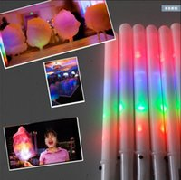 Wholesale Led Kids Favor Wholesale - 28*1.75CM New Kid Favor Colorful LED flashing cotton candy stick,light up novelty glow party cheering stick for concert bar