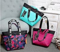 Wholesale Nylon Beach Bags Sale - 40tz Fashion Pink Handbags Single Shoulder Bags Women Love Totes Large Capacity Travel Duffle Waterproof Shopping Beach Bag Hot Sale