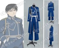 Wholesale Military Dress Xxl - Fullmetal Alchemist Roy Mustang Military Uniform Top Coat Jacket Dress For Men Anime Halloween Cosplay Costume Custom Made