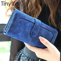 Wholesale Leather Clutch Checkbook Holder Wallet - Tinyffa Nubuck leather wallet women luxury coin purse bag female clutch bag Handbags dollar price long wallets carteira