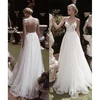 Wholesale Sheer Straps - 2018 Sexy V-Neck A-Line Wedding Dresses Backless Sheer Straps Appliques Lace Tulle Bridal Gowns Vestidos de Novia