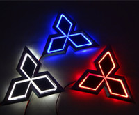 ingrosso badge per auto lanciatore mitsubishi-13.3 cm * 10.1 cm Car Emblem light per mitsubish galant lancer zinger asx cuv lioncel Badge Sticker LED light 5D logo Emblemi luce