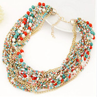 Wholesale Trendy Shorts Tops Wholesale - Wholesale- 2015 New Top Fashion Trendy Women Plastic Collier Jewelry Bohemian Style Texture Ethnic Mix And Match Temperament Short Necklace