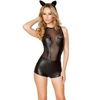 Wholesale Latex Babydoll Lingerie - Cosplay Women Black Leather Sexy Lingerie Catwoman Role Transparent Lingerie Babydoll Erotic Lingerie Latex Pole Dance Costumes
