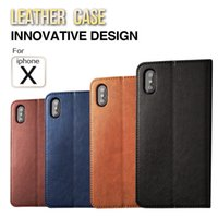 Wholesale Iphone Cases Real Leather Wallet - Real leather wallet phone case mobile cover for iPhone X Iphone 6 7 8 plus Samsung Note 8 Samsung 8 plug