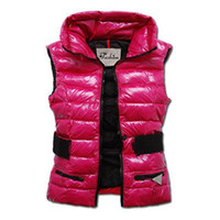 Wholesale woman goose down coat sale - Fashion New Winter Down Vest for Women Sashes Coat Slim Design Vests Female Brand Sleeveless Jacket Woman Black Purple Red Brown Cheap sale