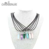 Wholesale Turquoise Black Stone Necklace - Semi-precious Crystal Necklace Natural Quartz Amethyst Turquoise Chakra Gem Stone Wax cord Pendant Necklaces For Women XL11