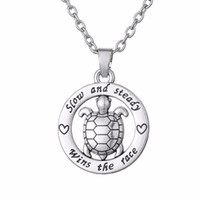 Wholesale Antique Turtle Pendant - Wholesale-Slow and steady Wins the race turtle animal antique silver plated necklace