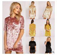 Wholesale Silver Evening Dress Wholesale - Summer Dresses for Women Party Velvet Dress Woman Clothes Short Sleeve Bodycon Evening Party Dresses Casual Mini Dress 2017 Dress