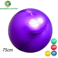 Wholesale Exercise Inflatable Ball - Wholesale-75CM Smooth Yogaball Blue Red Pilates Ball Pregnant Women Exercise Balance Fitness Sports Inflatable Thicken Anti-Explosion Bola
