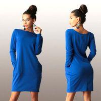 Wholesale Night Club Products - Wholesale- 2016 new products Autumn Winter Women Dress O neck Long Sleeve Office Dress Fashion Slim Bodycon Dress Women's Mini Dresses
