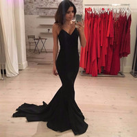Wholesale Evening Gowns One Sleeve - Sexy Spaghetti Strap Black Evening Party Gowns Long Vestidos De Formatura Simple Mermaid Prom Dress 2017