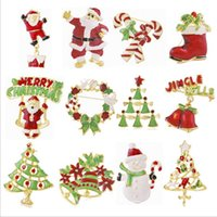 Wholesale Heart Wreaths Wholesale - 12 Styles Christmas gift brooches pin Santa Claus and boots brooches cane wreath snowman Christmas tree brooches jewelry gift DHL free ship