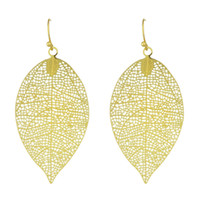 Wholesale Gold Plated Leaf Earrings - Fashion Gold Plated Hollow Out Big Leaf Shape Earrings