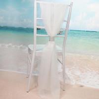 ingrosso telai bianchi-Fodera bianca all'ingrosso della sedia delle fasce con le chiffon del diamante delle decorazioni delicate del banchetto delle decorazioni della sedia del partito di nozze delle coperture