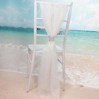 beyaz sandalye şapkaları toptan satış-Satırlar ile toptan Beyaz Şantuk Sandalye Sashes Elmas Şifon Narin Düğün Parti Ziyafet Süslemeleri Sandalye Aksesuarları Kapakları