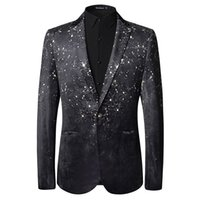 Blazer space suits design - top design America style Inked space d flowers printed velour mens suits blazers fashion personality jackets stage party clothes
