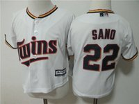 Wholesale Toddler Baby Twins - Newest-Toddler Minnesota Twins Miguel Sano White Home Cool Base Jersey stitched Preschool #22 Miguel Sano Twins Baby jersey 2T-4T