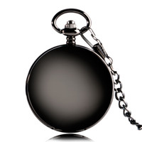 Wholesale Hunter Gifts - Wholesale- Luxury Black Smooth Mechanical Hand Winding Roman Number Simple Pocket Watch Double Hunter Design Steampunk Chain Men Gift