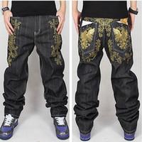 ingrosso jeans allentati di hip hop hip hop-All'ingrosso-phoenix Uomini ricamo oro Jeans larghi Mens Jeans hip-hop Lungo sciolto moda Skateboard Baggy Jeans rilassati Fit For Men Pantaloni