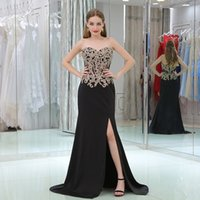 Wholesale Cheap Girl Dresses Sale - Sexy High Split Gold Lace Prom Dresses With Sweetheart Applique Bodice Formal Evening Gowns Cheap Black Girls Party Pageant Gowns Hot Sale