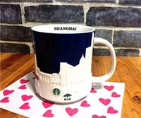 Wholesale Blue Ceramic Mugs - Authentic Starbucks Shanghai blue relief Mug 16oz China Shang hai City Limited Edition ceramic coffee cup gift