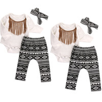 Wholesale Christmas Costumes Outfit Pants - 0-18months 3pcs Baby Girl Clothes Set Baby headband Tops+tassel bodysuit +pants Summer Outfits Set Sunsuit Costume
