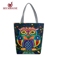 Wholesale Wholesale Used Women Bags - Wholesale-Colorful Owl Printed Canvas Tote Handbags Daily Use Canvas Shopping Bag For Women Beach Bags Female Casual Single Shoulder Bags
