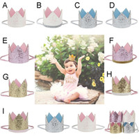 Wholesale Elastic Band Crown - Children INS paillette crown Hair band lovely baby Birthday party Crown Elastic force cotton knot head Hair Accessories 9 color B001