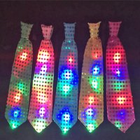 Wholesale Favors Bow - Female Male Sequins LED Neck Tie Glow Bow Tie Blinking Ties Birthday Party Supplies Wedding Favors Dancing Stage