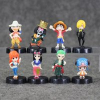 Купить Милый Измельчитель-Great 8pcs / lot One Piece 3-5cm Luffy Nami Usopp Robin Chopper Sanji Zoro Brook cute mini pvc figure