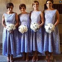 Wholesale Girls Lace Under Wear - High Low Lace Bridesmaid Dresses Long A Line Back Zipper Wedding Guest Dress Sleeveless Beach Summer Formal Girls Wear