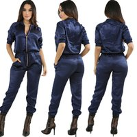 Wholesale Ladies Cheap Capris - Zipper Front Zip Up Jumpsuits Rompers For women with Blouson Sleeves Ladies Playsuits   Pink Blue S-XL   Wholesale Cheap DHL Fast Delivery