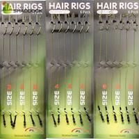 ingrosso affrontare treccia-18pcs Carp Fishing Hair Rigs intrecciato filo 8245 Curva Gambo Gancio Girevole Boilies Carp Rigs Accessori Per La Pesca Alla Carpa Affrontare